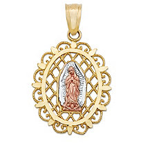 "Oval Virgin Mary Lattice Medallion Charm Pendant in Tri-Tone Yellow, White and Rose 10k Gold (7/8"")"