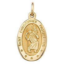 "Oval St. Christopher Embossed Charm Pendant in 10k Yellow Gold (1"")"