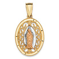 "Oval Virgin Mary Filigree Medallion Charm Pendant in Tri-Tone Yellow, White and Rose 10k Gold (3/4"")"