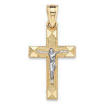 "Textured Crucifix Cross Charm Pendant in Two-Tone Yellow and White 10k Gold (1"")"