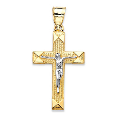 Textured Crucifix Cross Charm Pendant in Two-Tone Yellow and White 10k Gold (1 1/8