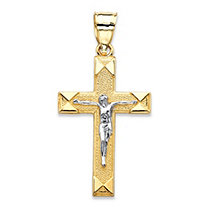 "Textured Crucifix Cross Charm Pendant in Two-Tone Yellow and White 10k Gold (1 1/8"")"