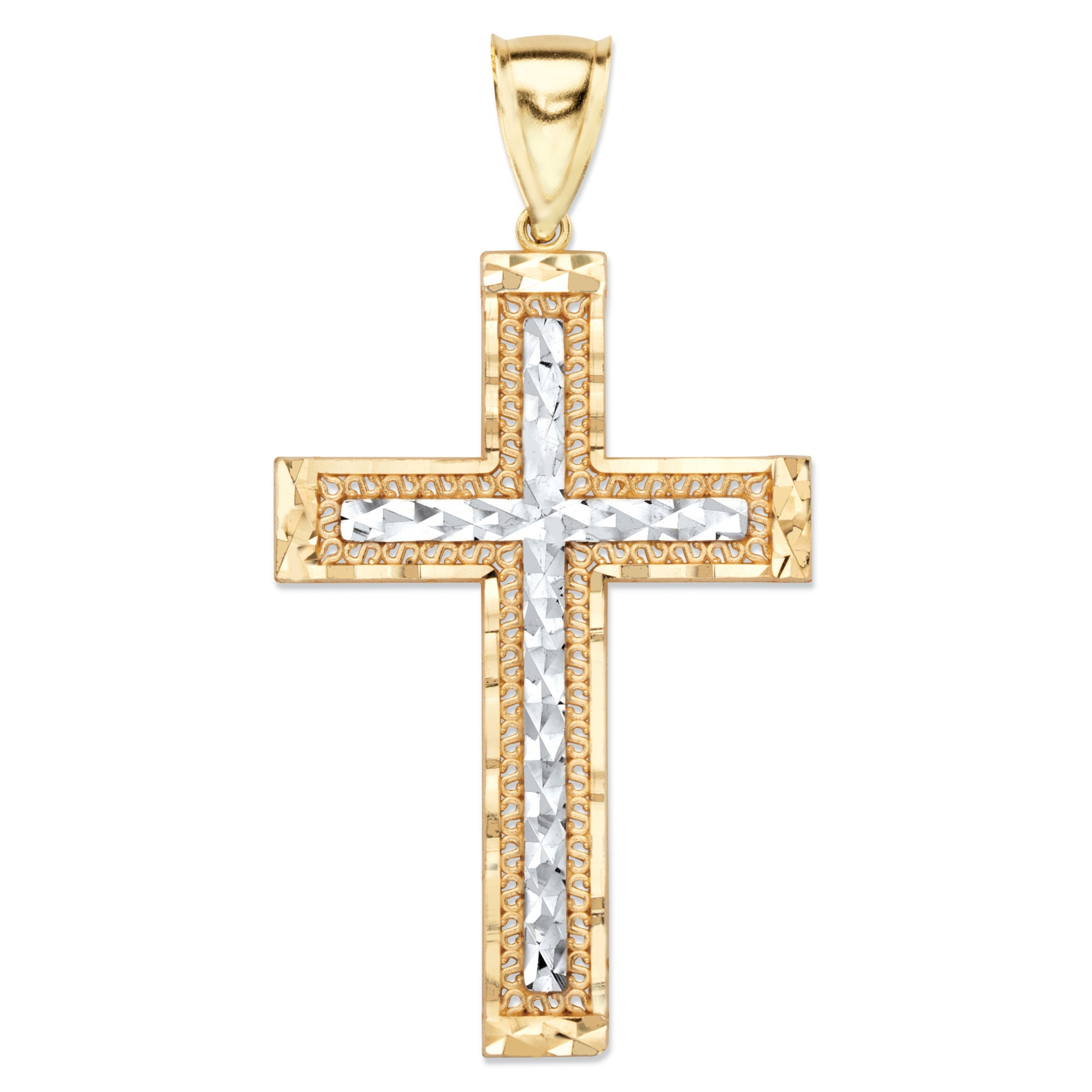 products tone palmbeach jewelry rings diamond charm cross at yellow cfm in crucifix two white and pendant gold detail cut