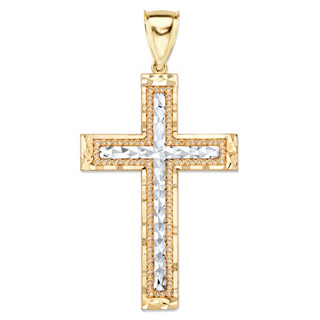 "Diamond-Cut Crucifix Cross Charm Pendant in Two-Tone Yellow and White 10k Gold (2 1/8"") at PalmBeach Jewelry"