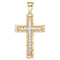 "Diamond-Cut Crucifix Cross Charm Pendant in Two-Tone Yellow and White 10k Gold (2 1/8"")"