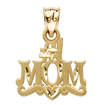 "Diamond-Cut ""#1 Mom"" Charm Pendant in 14k Yellow Gold (3/4"")"
