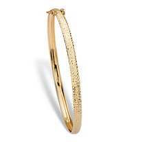 Diamond-Cut Hammered Bangle Stackable Bracelet in 14k Yellow Gold 7