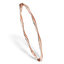 "Polished Twisted Hinged Bangle Bracelet in 10k Rose Gold 7"" (2mm)"