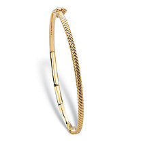 Shrimp-Style Textured Hinged Bangle Bracelet in 10k Yellow Gold 7
