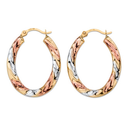 Diamond-Cut Twisted Hoop Earrings in Tri-Tone Yellow, White and Rose 14k Gold (.75