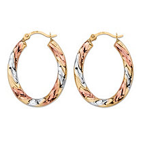"Diamond-Cut Twisted Hoop Earrings in Tri-Tone Yellow, White and Rose 14k Gold (3/4"")"