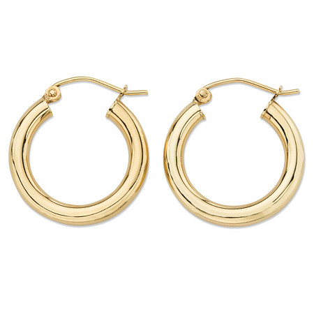 Polished Tubular Hoop Earrings in 10k Yellow Gold (3/4