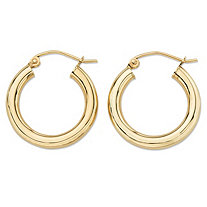 "Polished Tubular Hoop Earrings in 10k Yellow Gold (3/4"")"