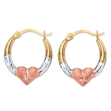 "Diamond-Cut Heart Hoop Earrings in Tri-Tone Yellow, White and Rose 14k Gold (1/2"") at PalmBeach Jewelry"