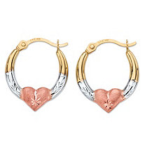 Diamond-Cut Heart Hoop Earrings in Tri-Tone Yellow, White and Rose 14k Gold (1/2