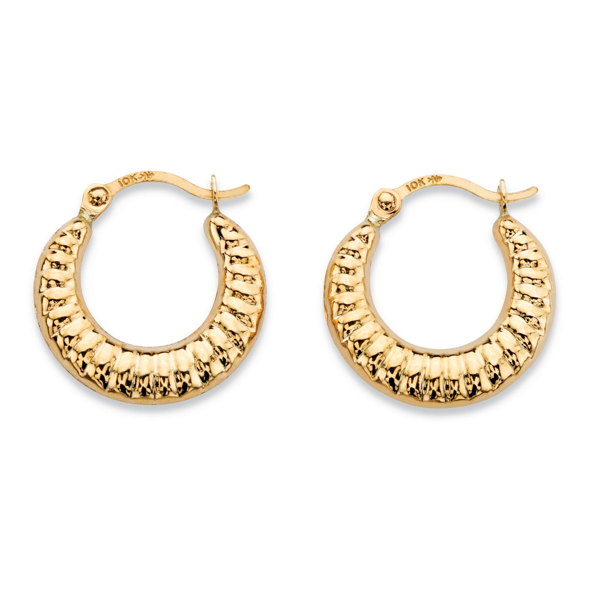 5e0e26c00486c Shrimp-Style Hoop Earrings in 10k Yellow Gold (5/8