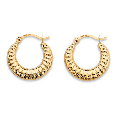 "Shrimp-Style Hoop Earrings in 10k Yellow Gold (5/8"") at PalmBeach Jewelry"