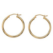 "Polished Tubular Hoop Earrings in 10k Yellow Gold (1"")"