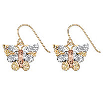 Diamond-Cut Filigree Butterfly Drop Earrings in Tri-Tone Yellow, White and Rose 10k Gold (3/4