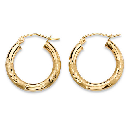 Diamond-Cut Textured Tubular Hoop Earrings in 10k Yellow Gold (5/8