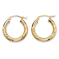 "Diamond-Cut Textured Tubular Hoop Earrings in 10k Yellow Gold (5/8"")"