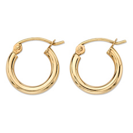 """Polished Hollow Hoop Earrings in 10k Yellow Gold (1/2"""") at PalmBeach Jewelry"""