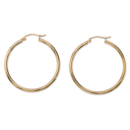Polished Tubular Hoop Earrings in 10k Yellow Gold (1 1/8
