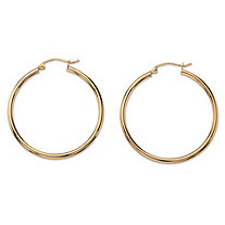 "Polished Tubular Hoop Earrings in 10k Yellow Gold (1 1/8"")"