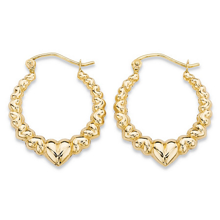 Puffy Hearts Graduated Hoop Earrings in 10k Yellow Gold (3/4