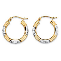 "Diamond-Cut Tubular Hoop Earrings in Two-Tone 10k Yellow Gold and 10k White Gold (1"")"
