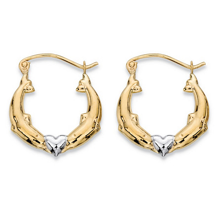 "Kissing Dolphins and Heart Hoop Earrings in Two-Tone 10k Yellow and 10k White Gold (3/4"") at PalmBeach Jewelry"