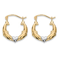 Kissing Dolphins And Heart Hoop Earrings In Two-Tone 10k Yellow And 10k White Gold ONLY $32.55