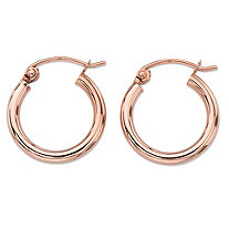 "Polished Tubular Hoop Earrings in 14k Rose Gold (5/8"")"