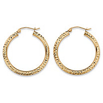 SETA JEWELRY Diamond-Cut Tubular Hoop Earrings in 10k Yellow Gold (1