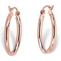"Polished Tubular Hoop Earrings in 14k Rose Gold (3/4"")"