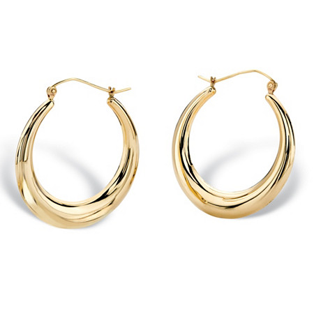 "Polished Tubular Hoop Earrings in 10k Yellow Gold (7/8"") at PalmBeach Jewelry"