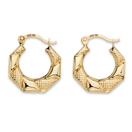 "Diamond-Cut Banded Hoop Earrings in 10k Yellow Gold (1/2"") at PalmBeach Jewelry"
