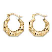 "Textured and Polished Hoop Earrings in 10k Yellow Gold (1/2"")"