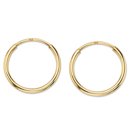 Polished Eternity Tubular Hoop Earrings in 10k Yellow Gold (1/2
