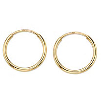 "Polished Eternity Tubular Hoop Earrings in 10k Yellow Gold (1/2"")"