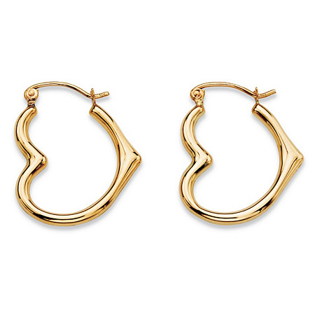 Polished Open Heart-Shaped Tubular Hoop Earrings in 10k Yellow Gold (3/4