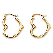 "Polished Open Heart-Shaped Tubular Hoop Earrings in 10k Yellow Gold (3/4"")"