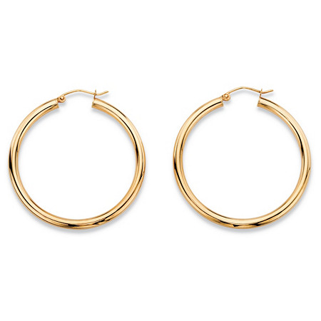Polished Hollow Tubular Hoop Earrings in 10k Yellow Gold (1 3/8