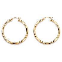 "Polished Hollow Tubular Hoop Earrings in 10k Yellow Gold (1 3/8"")"