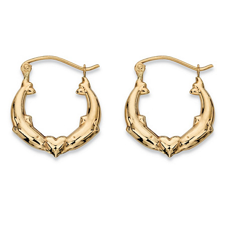 "Kissing Dolphins and Heart Hoop Earrings in 10k Yellow Gold (11/16"") at PalmBeach Jewelry"