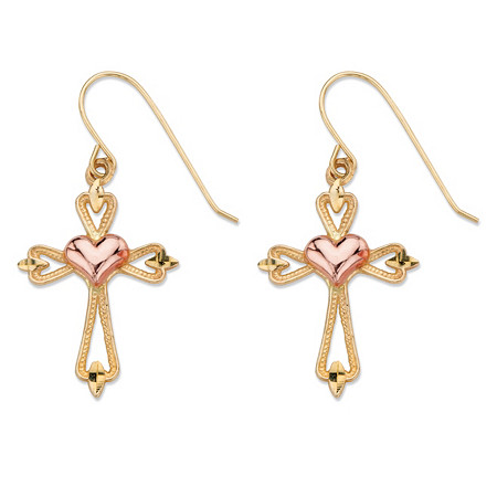 Diamond-Cut Openwork Cross and Puffy Heart Drop Earrings in Two-Tone Yellow and Rose 10k  Gold (1 1/8
