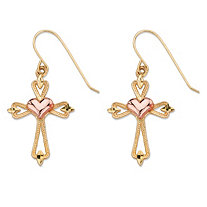 "Diamond-Cut Openwork Cross and Puffy Heart Drop Earrings in Two-Tone Yellow and Rose 10k Gold (1 1/8"")"