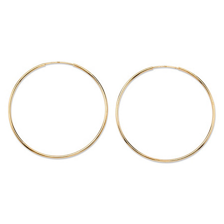 Polished Eternity Hoop Earrings in 10k Yellow Gold (1 3/4
