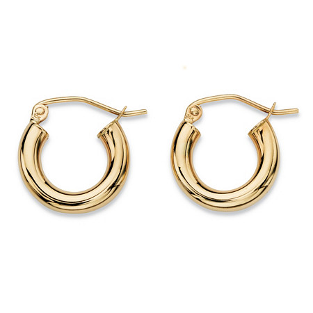 "Polished Tubular Hoop Earrings in 10k Yellow Gold (1/3"") at PalmBeach Jewelry"