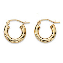 "Polished Tubular Hoop Earrings in 10k Yellow Gold (1/3"")"
